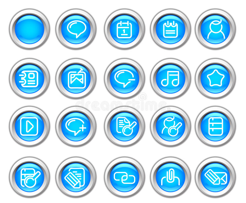 Silvero glossy icon set: Internet and Blogging stock illustration