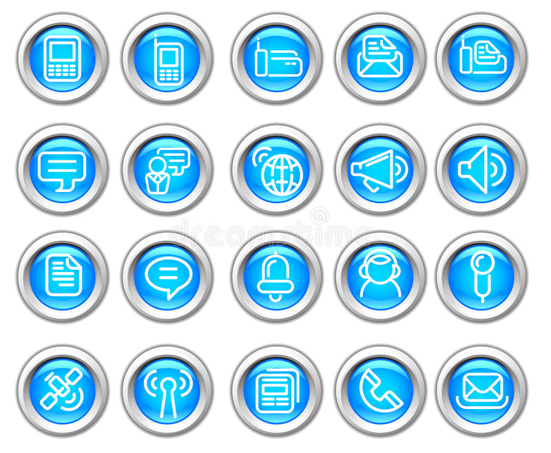 Silvero glossy icon set: Wireless communication vector illustration
