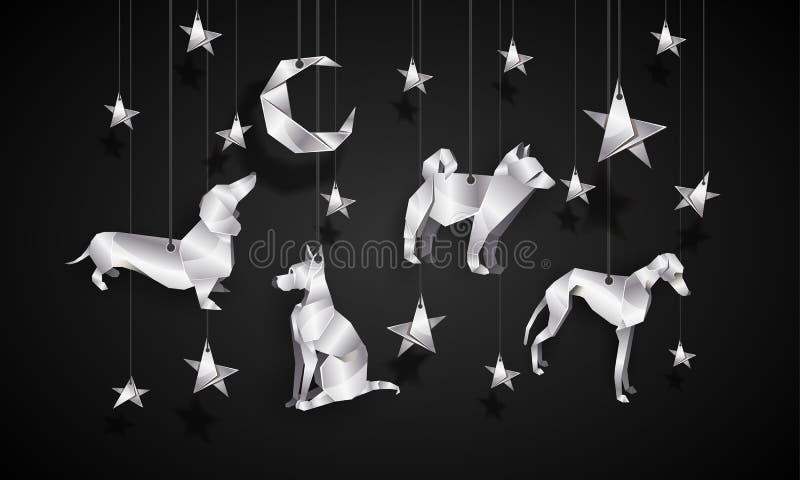Silverorigamihundkapplöpning i natthimlen Kinesisk illustration för nytt år royaltyfri illustrationer