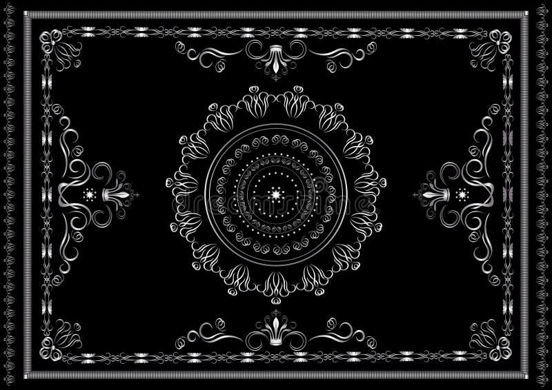 Silverram från modeller med vridna kalligrafiband och kronor på svart bakgrund vektor illustrationer