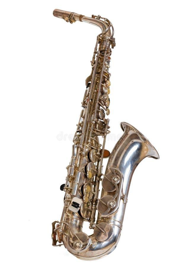 Silversaxofon royaltyfri foto