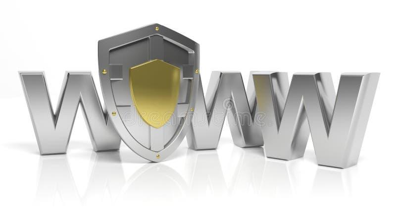 Silversköldsymbol och WWW bokstäver stock illustrationer