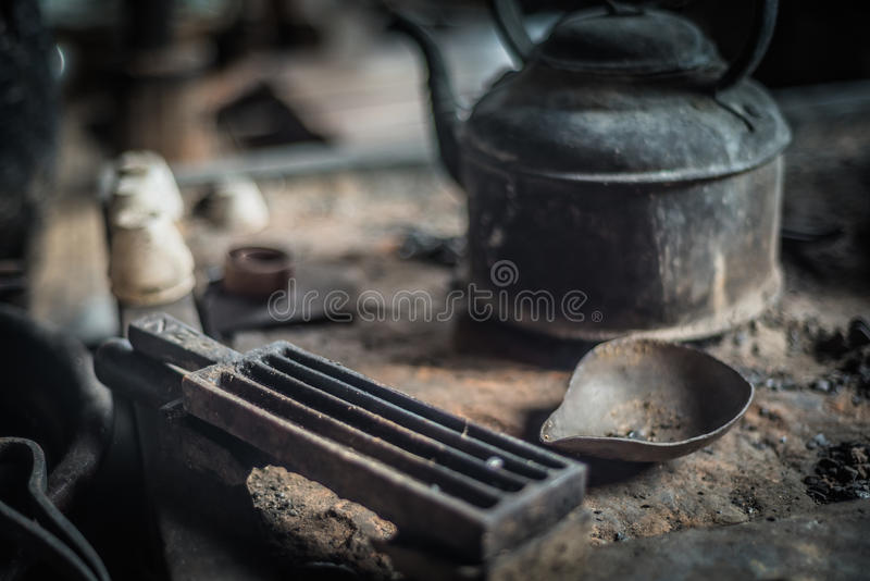 At silversmith`s workshop with traditional tools royalty free stock images