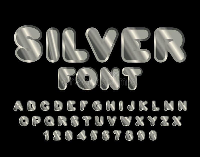 Silverstilsort abc av argent Ädelmetallalfabet Metalliskt sh stock illustrationer