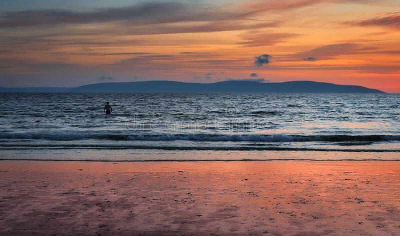 Silverstrand beach at sunset, galway, Ireland stock photography