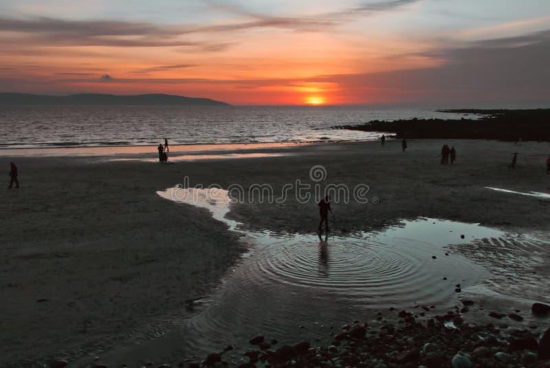Silverstrand beach at sunset, galway, Ireland stock photo