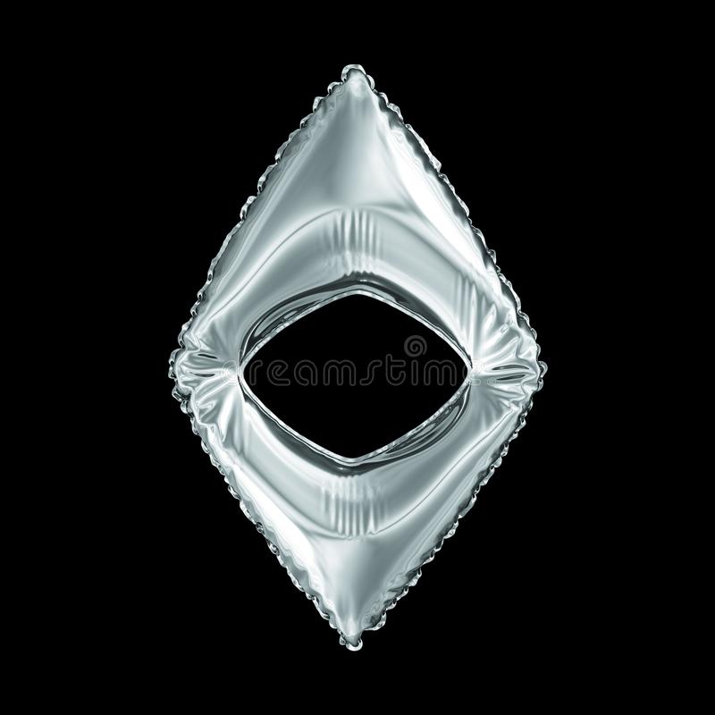 Silversymbol Ethereum som göras av den isolerade uppblåsbara ballongen på svart bakgrund royaltyfri illustrationer