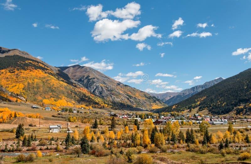 Silverton Colorado i nedgång arkivfoto