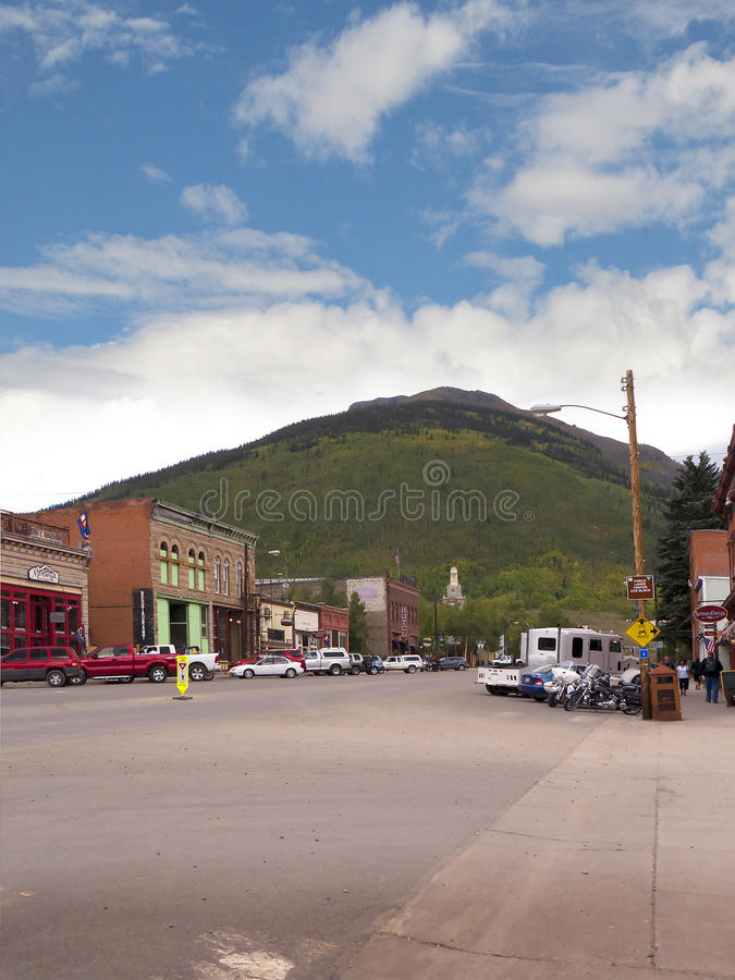 Silverton is an old Silver Mining town in the State of Colorado USA. The Narrow Gauge Railway from Durango to Silverton that runs through the Rocky Mountains by stock photography