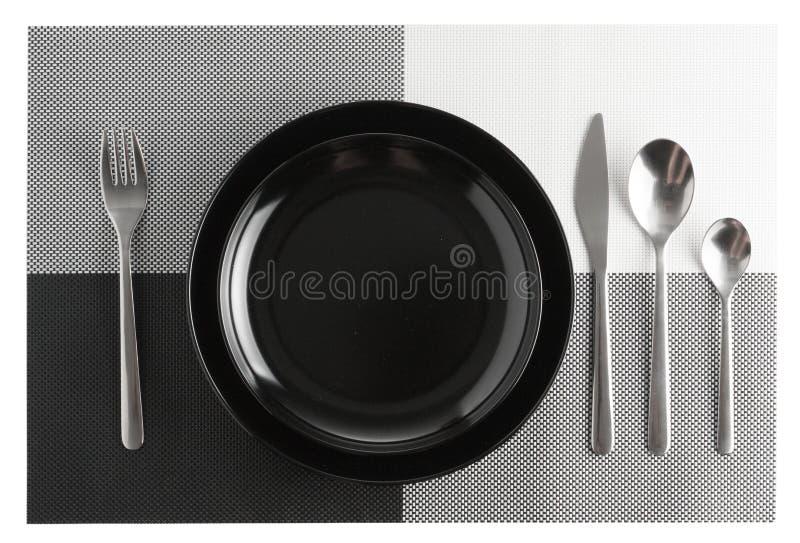 silverware или комплект и плиты flatware изолированные на белизне стоковое изображение