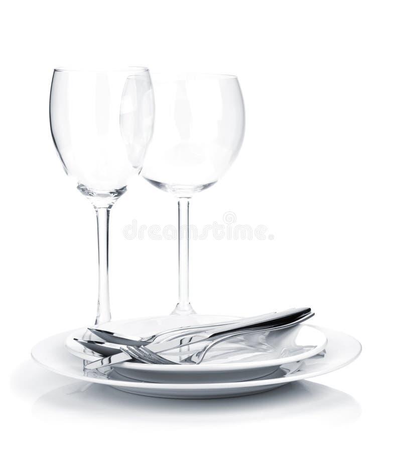 Silverware или flatware на плитах и бокалах стоковое фото rf