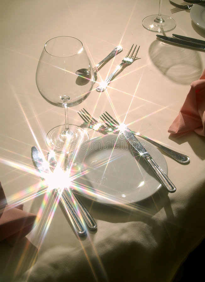 Silverware. Fork and knife set on napkin stock photography