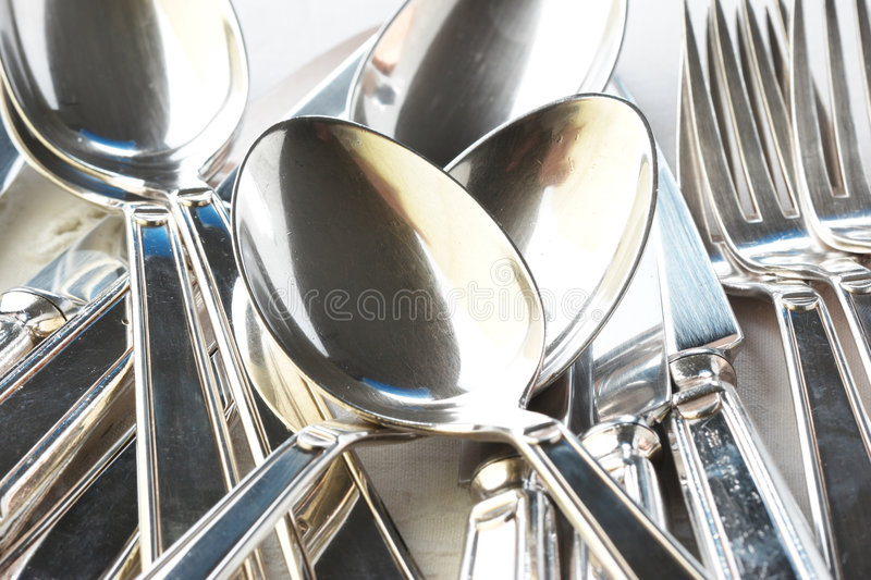 Silverware. Cutlery, sets of cutlery, silverware, fork, spoon, knife royalty free stock photography