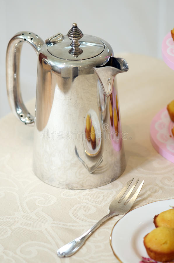 Silverware coffee pot stock photography