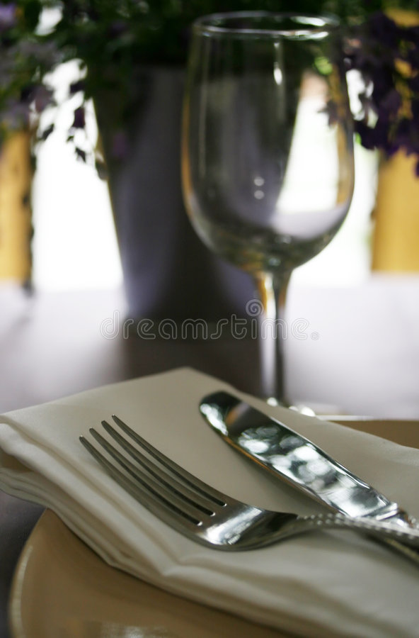Download Silverware On The Dinner Table Stock Photo - Image of glass, dinning: 5584502