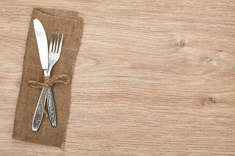 Silverware Or Flatware On Plates And Wine Glasses Stock