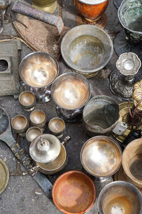 Silverware flea market royalty free stock photos
