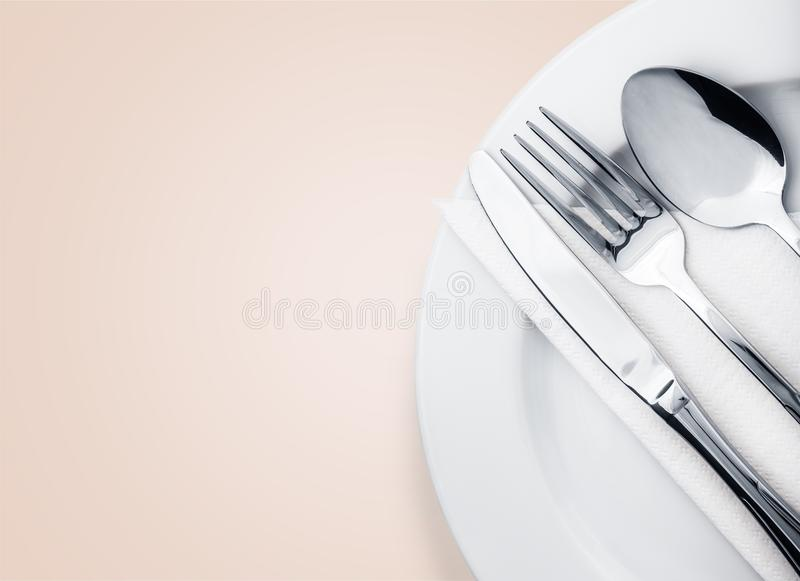 silverware Gaffel, sked och kniv som isoleras på royaltyfri bild