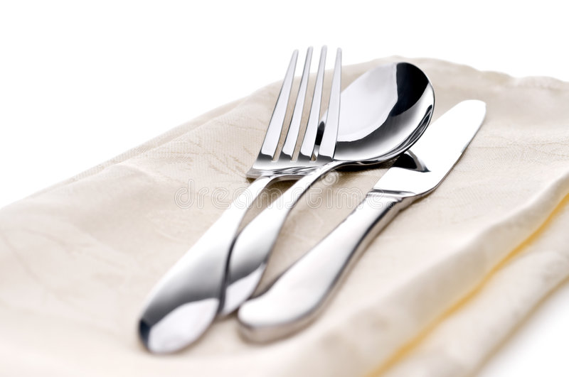 Download Silverware on a napkin stock photo. Image of cutlery, flatware - 7040598