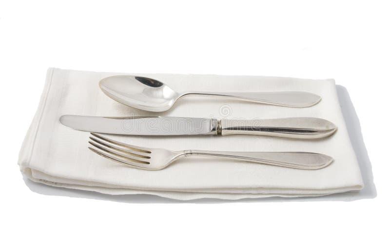 Silverware on napkin stock photos