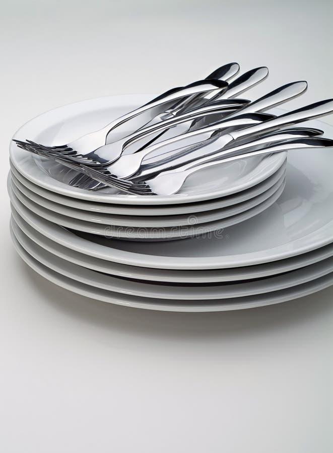 Free Silverware On White Plates Royalty Free Stock Photos - 3512208
