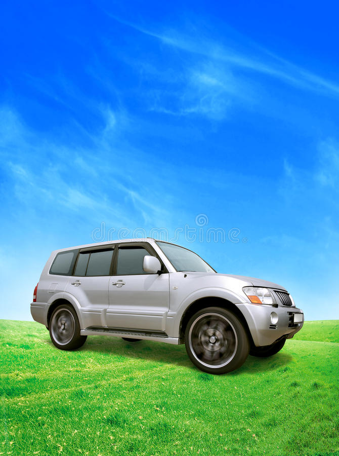 Silvery car. The silvery car in movement stock photo