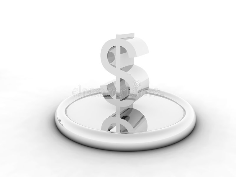 Silvery character of dollar. On round support on a white background royalty free illustration