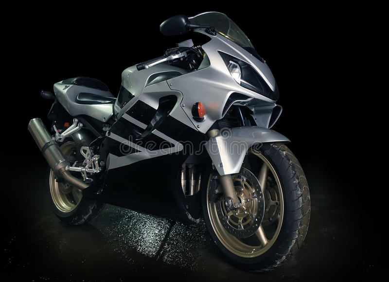 Silvery motorcycle royalty free stock photography