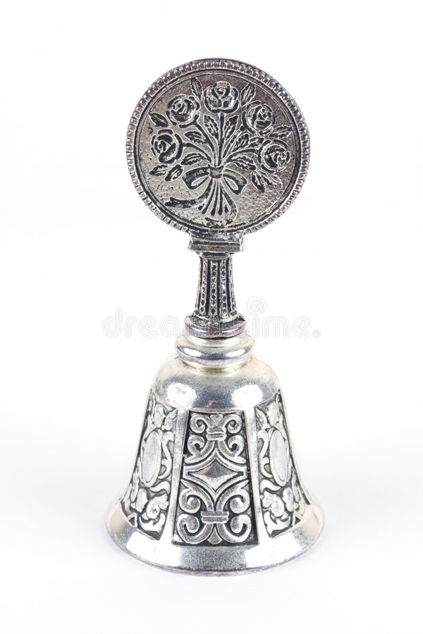 Free Silvery Old Bell On White Background Stock Photography - 7111102