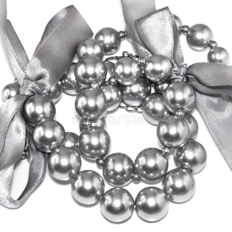Download Silvery pearl necklace stock image. Image of beauty, jewelry - 17245613