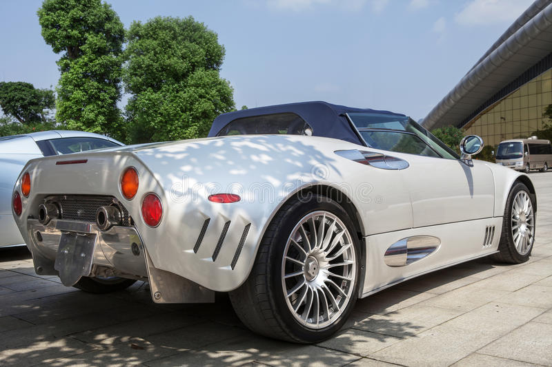 Silvery roadster. Back view of the luxury roadster(The Spyker Car royalty free stock photos