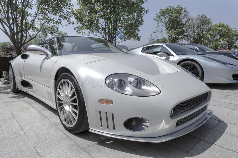 Silvery roadster. The luxury roadster(The Spyker Car),side view 45 degree royalty free stock image