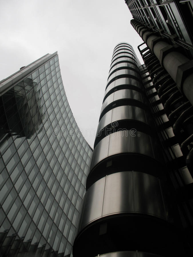 Silvery sleek. Lloyds in London on a pearly day in January stock image