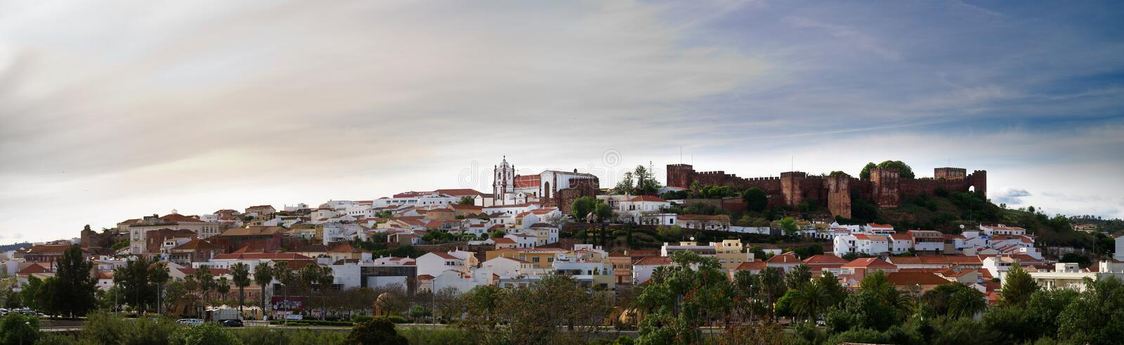 Silves panorama and Castle royalty free stock photos