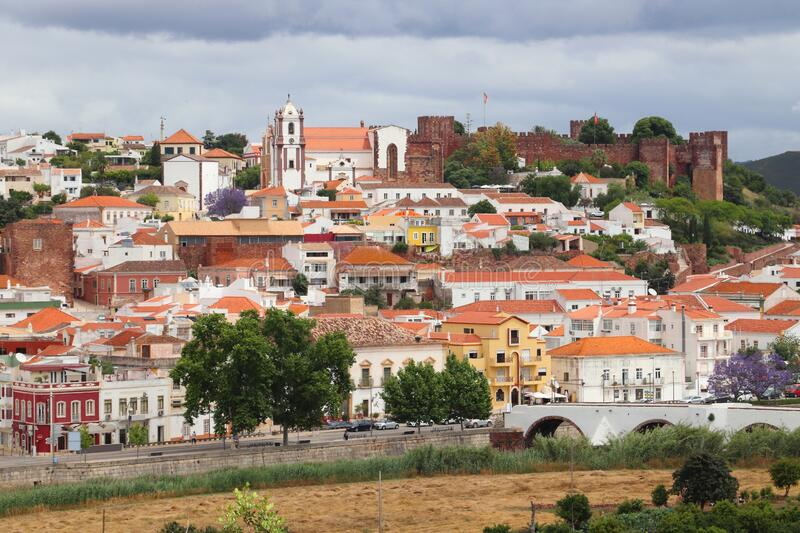 Silves, Portugal. Town with medieval castle on the hill royalty free stock photos