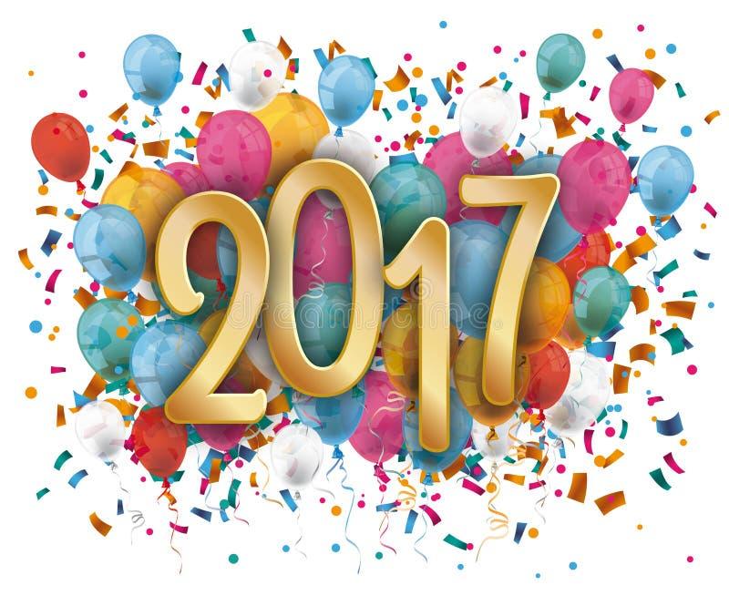 Silvester 2017 confetes dos balões ilustração do vetor