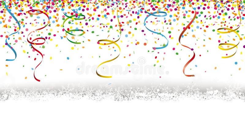Silvester Confetti Snow royaltyfri illustrationer