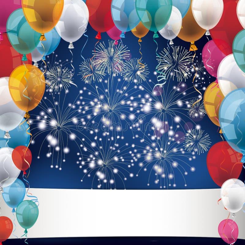 Silvester Fireworks Balloons Banner royalty illustrazione gratis