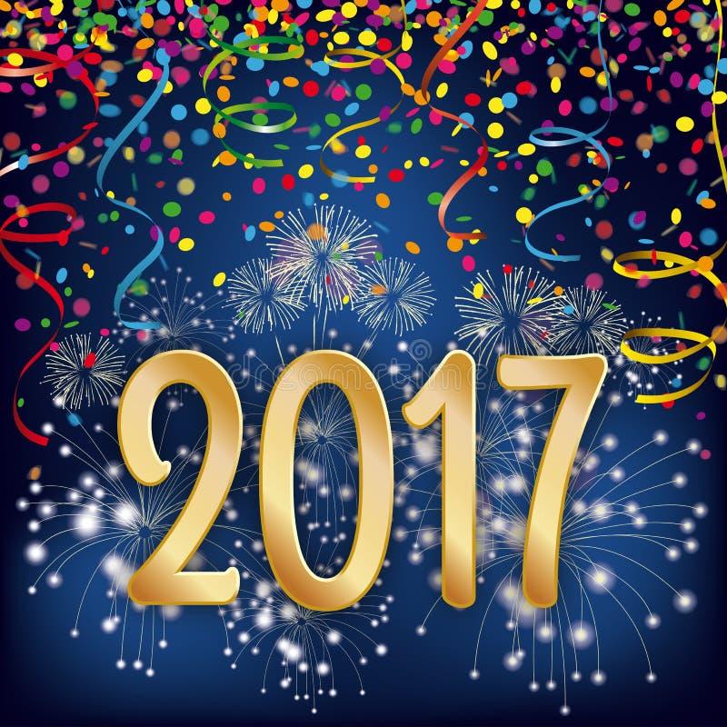 Silvester Night Fireworks Confetti Ribbons 2017 illustrazione di stock