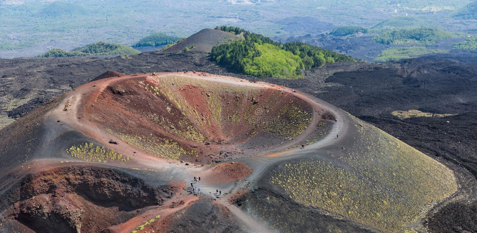 Silvestri crater at the slopes of Mount Etna at the island Sicily, Italy stock images