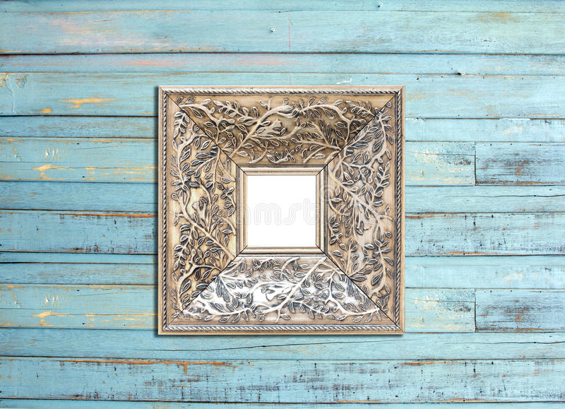 SilveVintage Picture Frame On Blue Wood Background Stock Photos