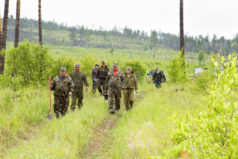 Silvicoltori ed ispettori della foresta nel taiga siberiano immagine stock