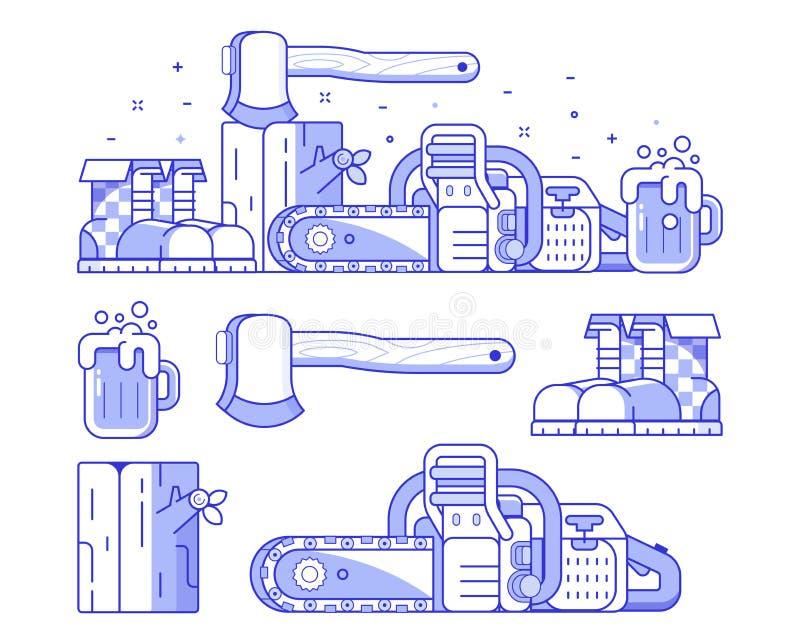 Silvicultura e grupo do ícone da serração ilustração do vetor