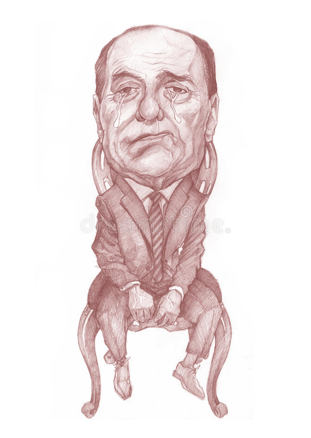 Silvio Berlusconi. Caricature Sketch for editorial use, for newspapers, magazines and web