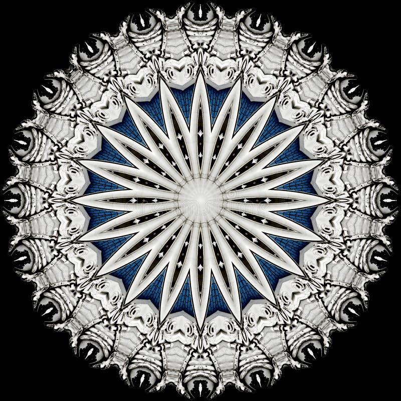 Silvrig stjärna på svart, frambragd dator stock illustrationer