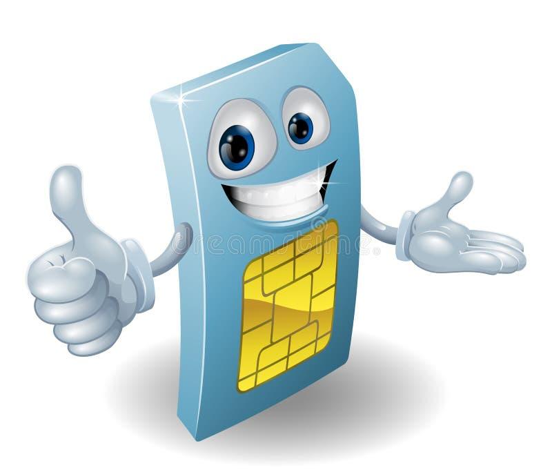 sim мобильного телефона человека шаржа карточки иллюстрация штока