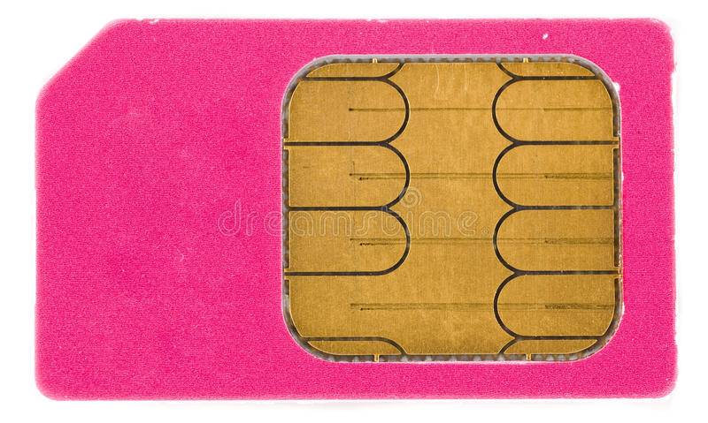 Sim card. Mobile phone sim card isolated on white background stock photography