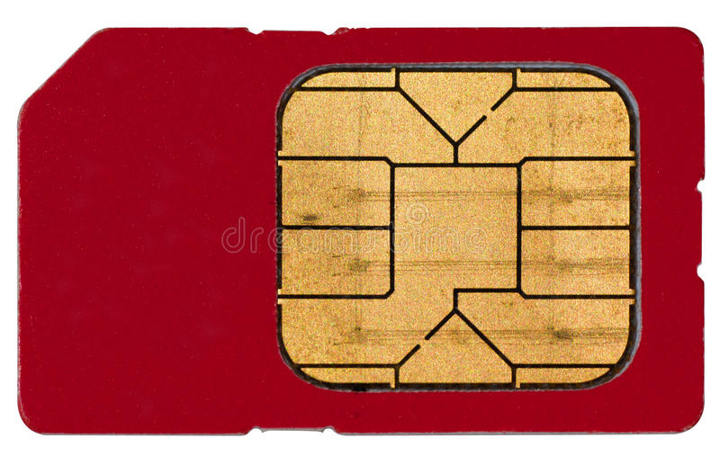 Sim Card. A macro photo of a single and used sim card! Perfectly isolated on white background royalty free stock photos