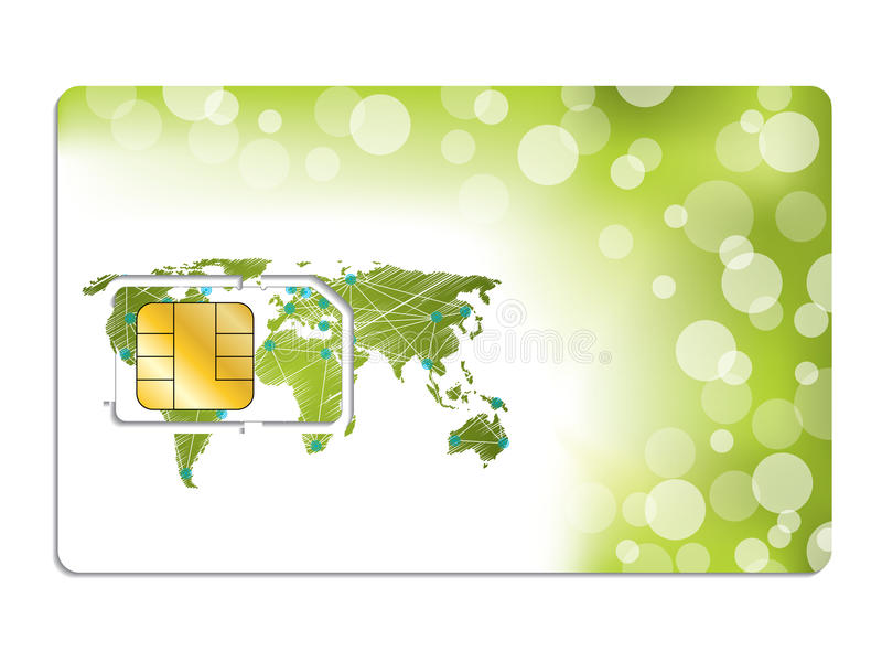 Download Sim Card Design With World Map Stock Vector - Image: 32310638
