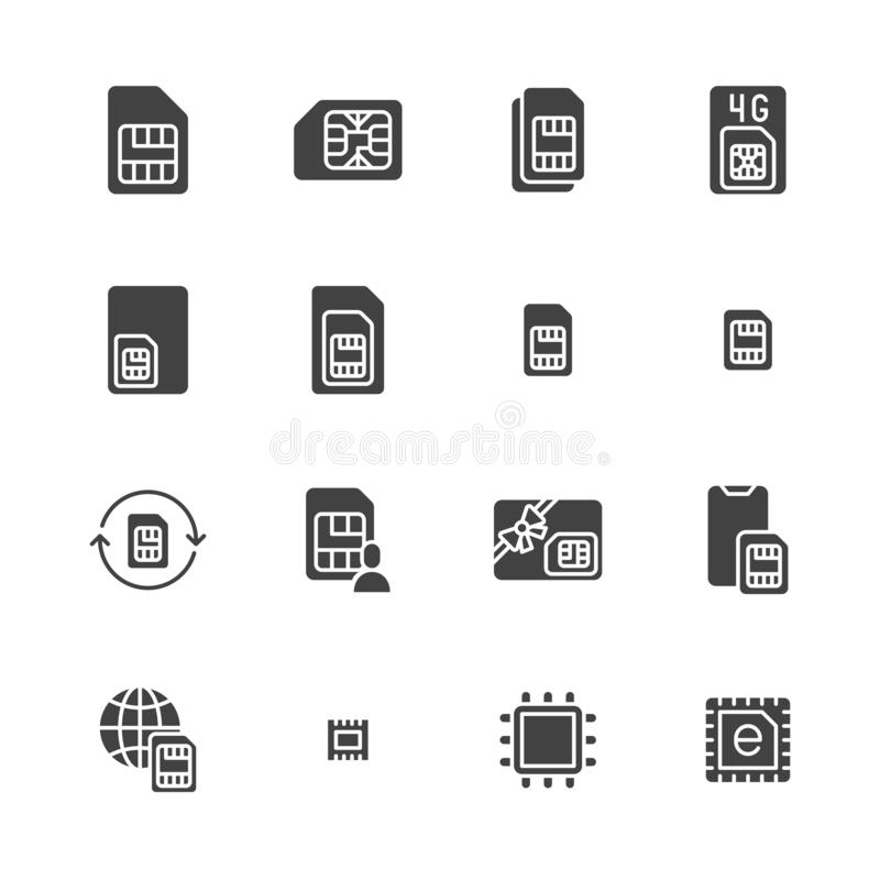 Sim card flat glyph icons set. Micro, nano simcard, new eSim technology, mobile phone chip vector illustrations. Black. Signs for electronic store. Silhouette stock illustration